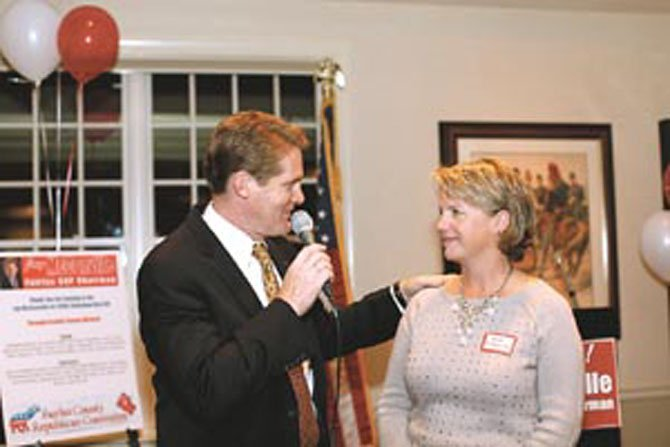 Jay McConville with wife Sue at his kickoff event to campaign for Fairfax County Republican Committee chairman.
