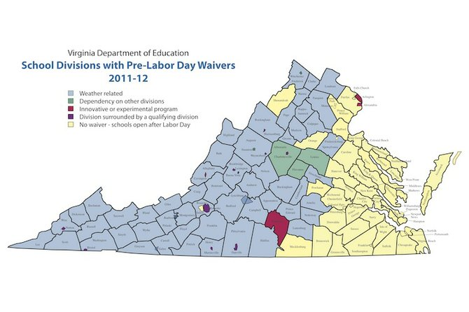 Map depicts school districts approved for pre-Labor Day opening due to weather waivers.