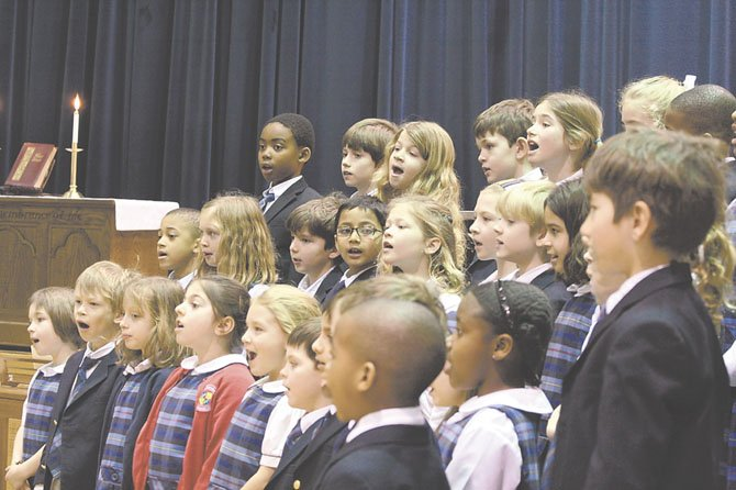 Grade 2 students sing during the annual all-school chapel honoring the life of Dr. Martin Luther King, Jr.