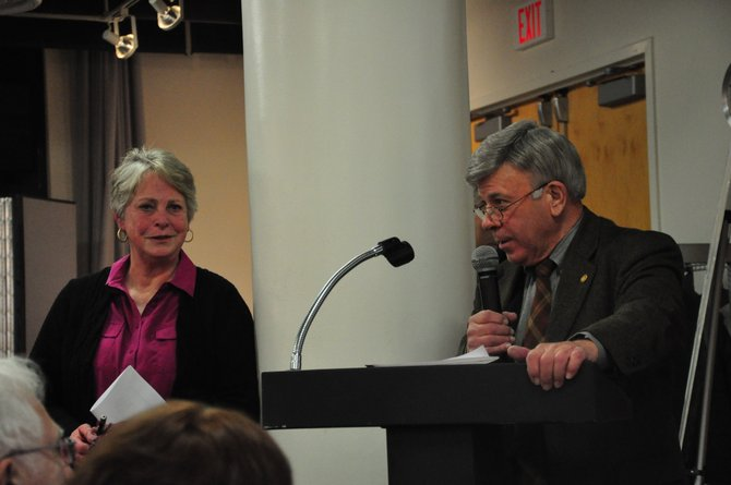 Historians Karen Washburn and Ted McCord speak at the Reston Community Center Lake Anne about the early history of the land that became Reston Thursday, Jan. 19.