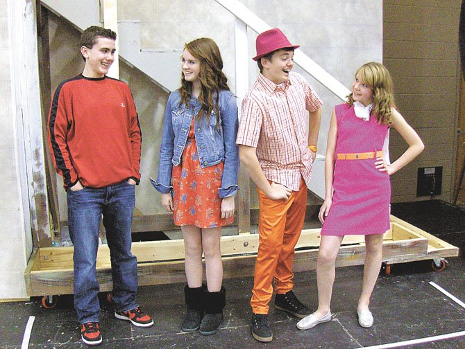 "The main characters of ""High School Musical Jr."" include (from left, in front) Embrey Grimes, Kristen Popham, Johnny Pace and Samantha Dempsey."