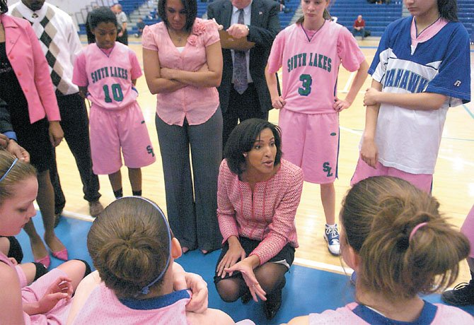 The South Lakes High girls' basketball team, under head coach Christy Winters-Scott (pictured), will be visiting Fairfax High for a Liberty District game next Tuesday, Jan. 31.