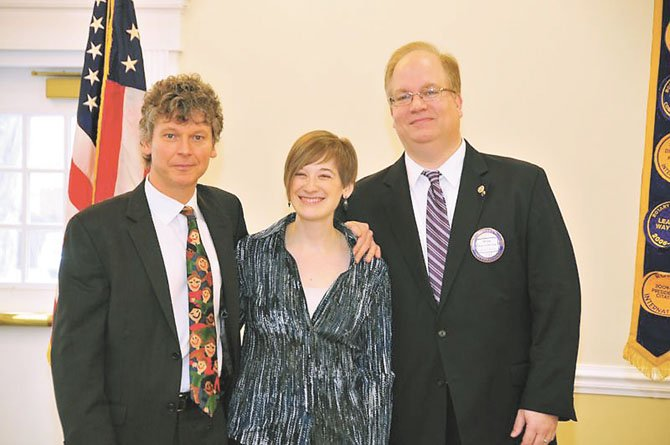 Rotary Club of Fairfax President Brian Lubkeman (right) welcomes Christopher Zimmerman, Musical Director, and Tara Nadel, Patron Services Manager of The Fairfax Symphony Orchestra on Jan. 23.