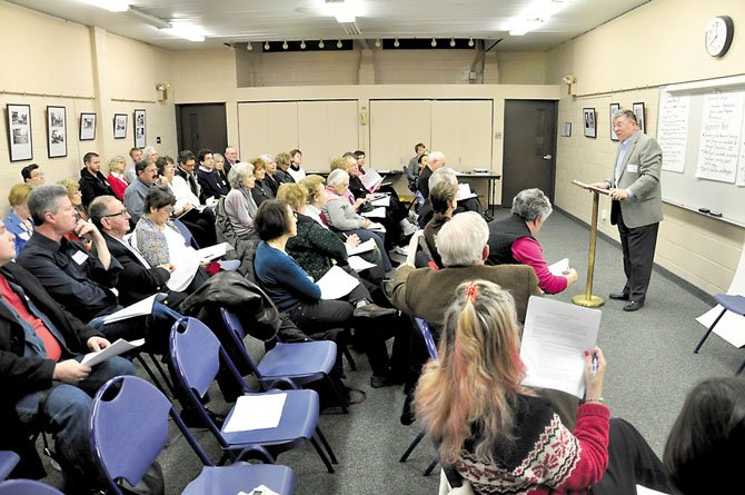 Jerry Hopkins speaks to a group of people interested in helping plan for aging in the community at the McLean Community Center Monday, Jan. 30.