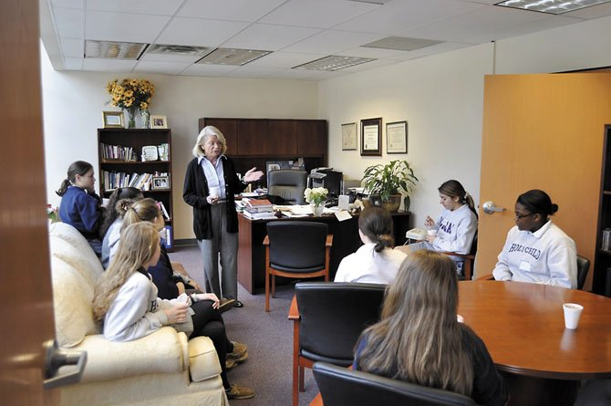 "Headmistress Maureen Appel welcomes Holy Child students into her office for a seminar on ""An Introduction to Your Personality"""