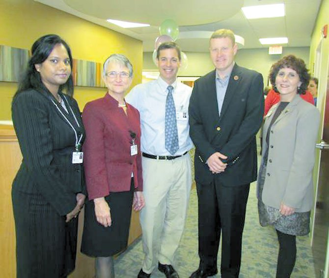Dr. Sangeetha Shan-Bala, Dr. Janice Gable, Dr. Matt Narrett, Supervisor Jeff McKay (D-Lee), and Greenspring Executive Director Robin Gliboff at the opening of the renovated Greenspring Medical Center on Jan. 27.