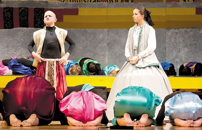 Josh Harasimowicz, playing the King of Siam had great chemistry with Ellie Milewski, playing Anna Leonowens from Rodgers and Hammerstein's classic 'The King and I' on Jan. 27 at the Key Middle School Theater. Harasimowicz received a liver transplant on Nov. 10, 2011.