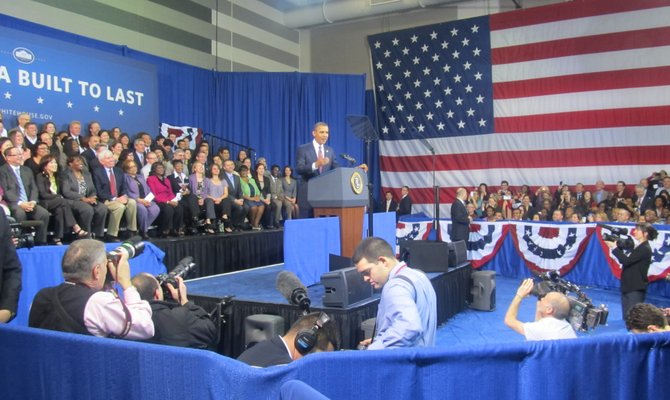 President Barack Obama spoke at the James Lee Community Center in Falls Church on Wednesday, Feb. 1, about his plans to revitalize the stalled housing market. His speech was short and pointed.