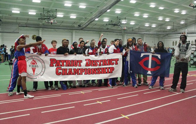 The T.C. Williams boys' indoor track team won the 2012 Patriot District championship.
