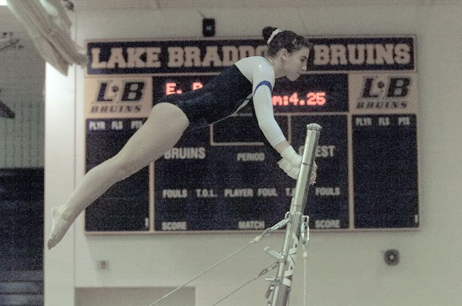 West Potomac sophomore Monica Thompson qualified for regionals with a fourth-place finish in the all-around at the Patriot District gymnastics meet on Feb. 2 at Lake Braddock Secondary School.
