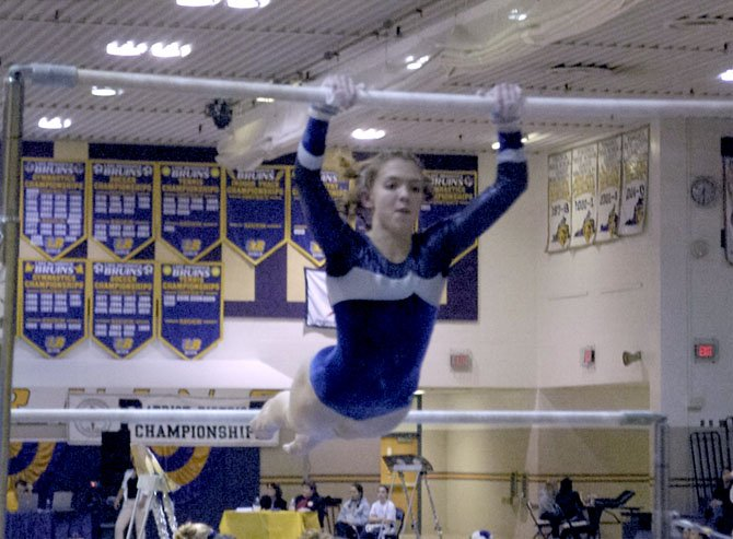 Lake Braddock senior Caitlin Liberatore won the Patriot District all-around gymnastics championship on Feb. 3.