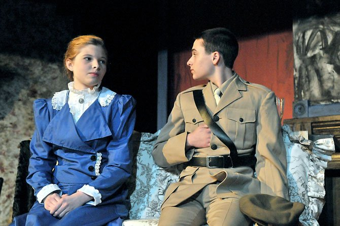 Emma Harris as Helen Stoner talks with her fianc Captain Louis Armitage (Ian Munro) before joining the others for a luncheon at Dr. Roylotts home.