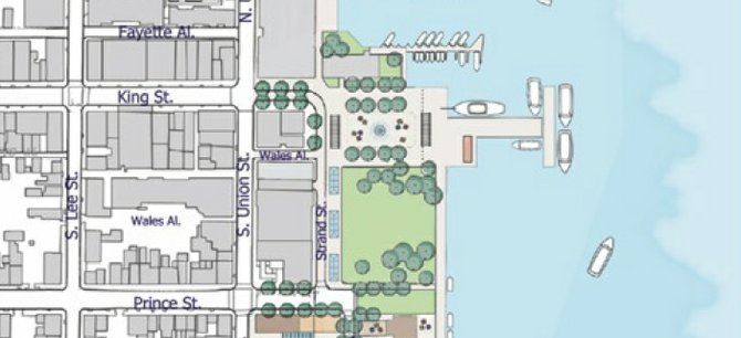 The Alexandria waterfront plan increases density from the existing 300,000 square feet of development to 800,000 square feet of redevelopment.