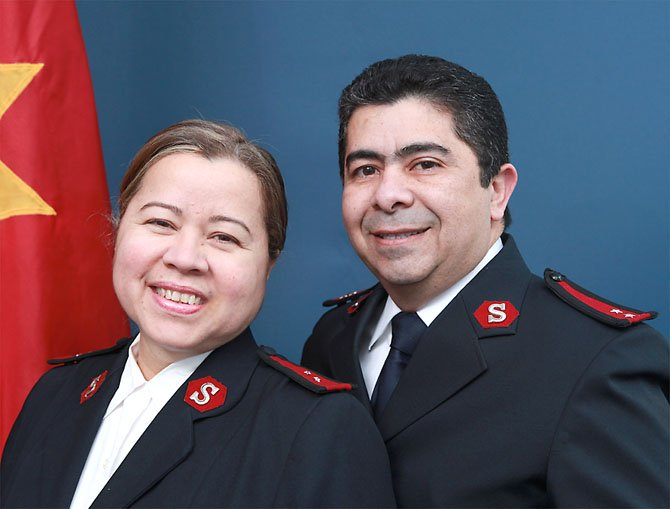 Newly appointed Salvation Army officers, Alan and Mary gonzales