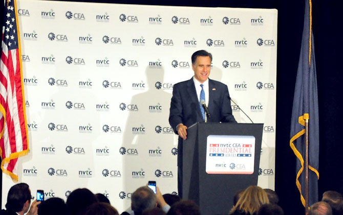 Republican presidential hopeful Mitt Romney speaks about the importance of innovations Friday, Feb. 10 at the Hyatt Regency Reston.