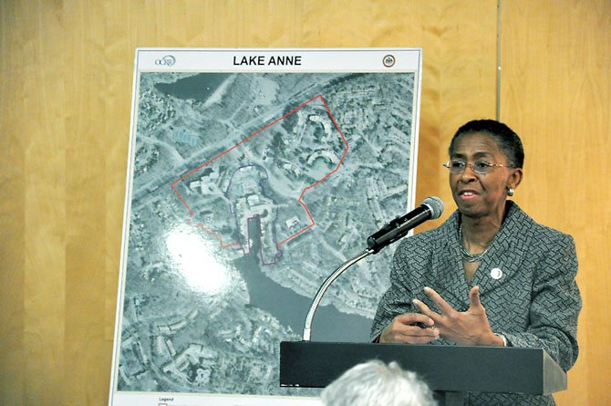 Supervisor Cathy Hudgins (D-Hunter Mill) speaks at a meeting about the redevelopment of the Crescent Apartments at the Lake Anne Community Center Wednesday, Feb. 8.