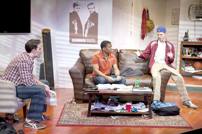 "(From left to right) Danny Gavigan (as Jimmy), Paul James (as Johnson) and Evan Casey (as Cooper) talking about last night's big party in ""Really Really"" at Virginia's Signature Theatre through March 25."