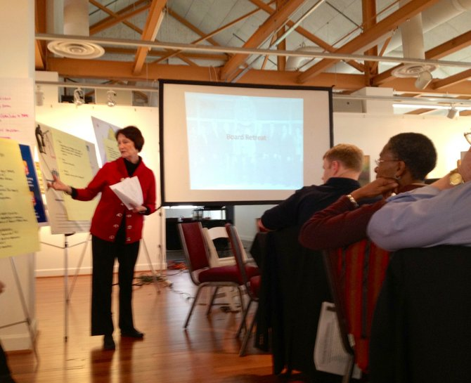 Chairman Sharon Bulova (D-at-large) reviews goals during the Board of Supervisors retreat, held Feb. 6-7 at the Lorton Workhouse Arts Center.