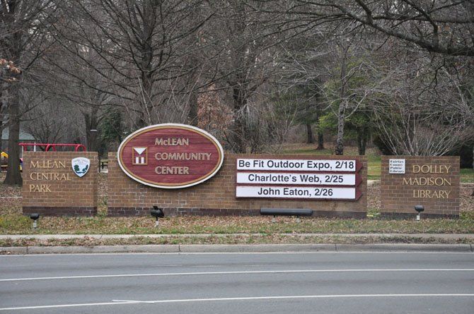 An update for this sign, located at the intersection of Dolley Madison Boulevard and Old Dominion Drive, is currently being discussed by the McLean Community Center Board and the Fairfax County Park Authority.