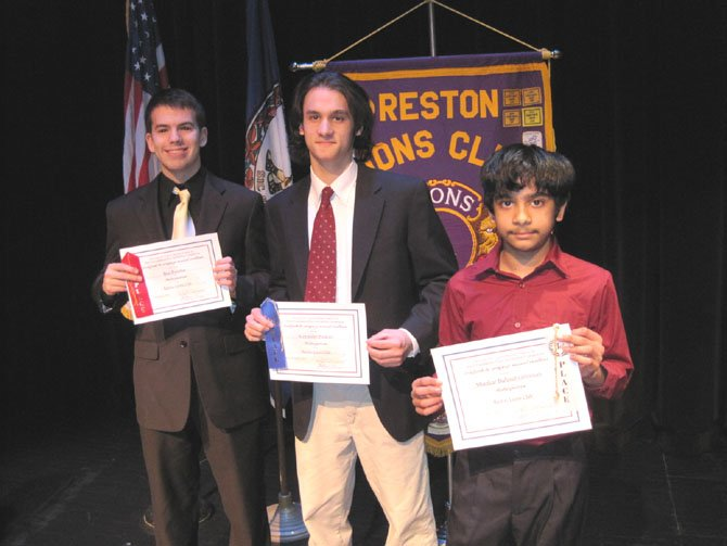 Award-winning Instrumentalists (Left to Right): Ben Escobar (Second Place), Alexander Pauken, (First Place), Shankar Balasubramanian (Third Place)