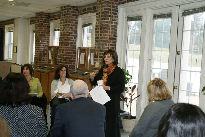 Debbie Roffman speaking at a Feb. 16 presentation for Flint Hill School eighth grade parents.
