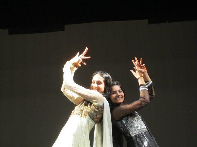 From left, Marshall High Sophomores Shalini Rana and Joshna Seelam performed a variety of Bollywood dances for the schools International Night.