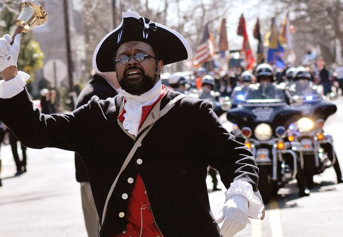 Town Crier Benjamin Fiore-Walker at the George Washington Birthday parade.