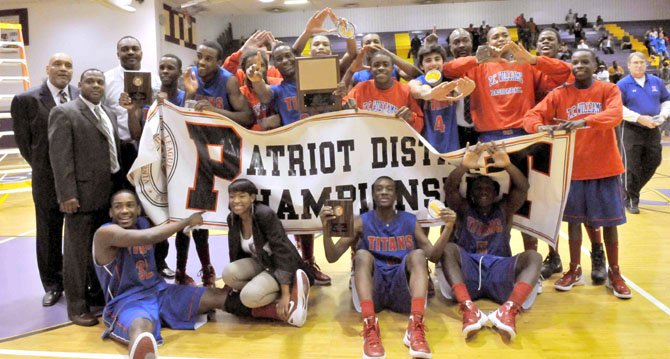 The T.C. Williams boys basketball team won the 2012 Patriot District championship.