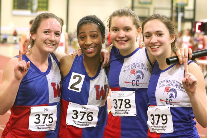 T.C. Williams 4x400 relay team of Kathryn Hendley, Morgan Lataillade, Sydney Schaedel and Shannon Smythe won the Northern Region championship during the weekend of Feb. 17-18.