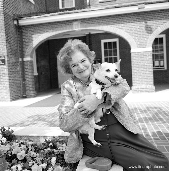 Former City Manager Vola Lawson with her Jack Russell Terrier Jack in Market Square in 2007.