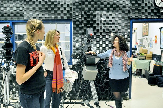 TV Production instructor Nancy Mantelli gives a tour of the TV studio at the Academy.