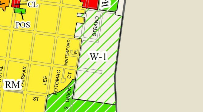 The small-area plan approved by City Council members in January would increase density at the Cummings-Turner property, shown in the W-1 zone here along with Robinson South, from  71,000 square feet to 187,000 square feet. That zoning change is in limbo, which means the developer could be restrained to the previous zoning of 125,000 square feet.