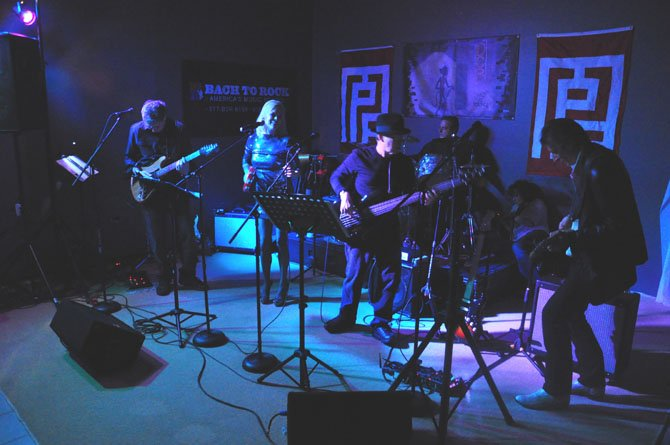 "The Dead Cat Bounce Band performs at the McLean Project for the Arts ""pop-up"" party Friday, Feb. 24."