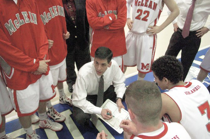 McLean High head coach Kevin Roller, talking strategy with his team on Saturday, saw his Highlanders reach great heights this season. 