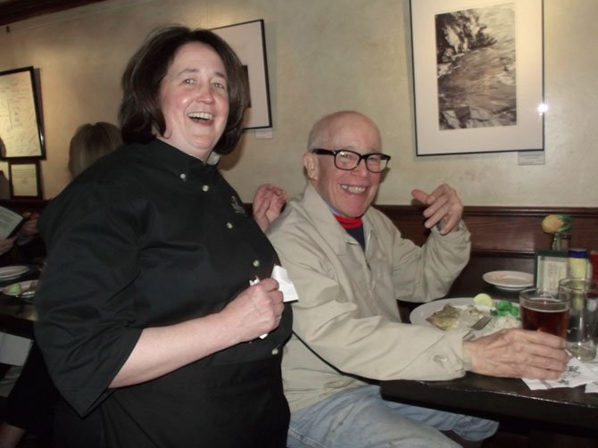 Martha Alden and Pete McVey laugh about the good times they've shared.