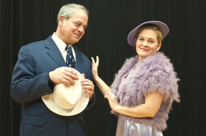 "Simon Mostyn (Tony Pisarra) and Kay Ridgeway-Mostyn (Charlene Sloan) rehearsing The Potomac Theatre Company's production of Agatha Christie's ""Murder on the Nile."""