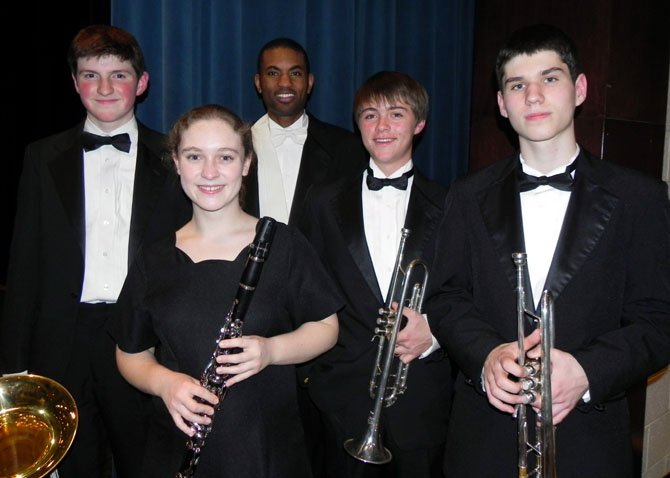 TCW members of the 2012 All-State Virginia Concert Band are (from left): Nate Conrad, Kate Aplin, TCW Band Director Brian Thomas, Jonathan Forbes and Alexander Psaltis-Ivanis.