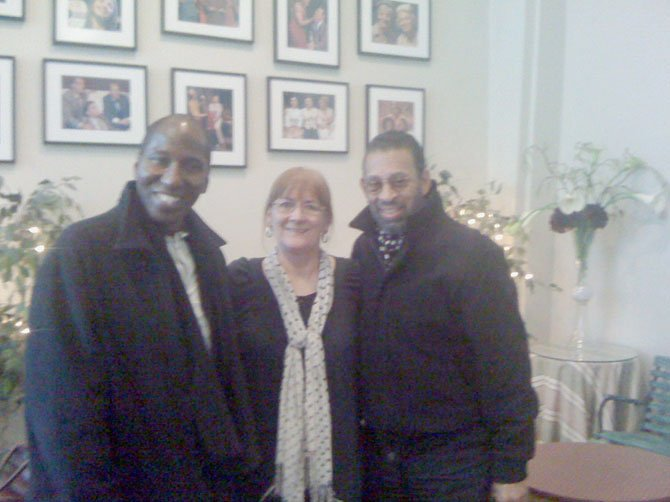 "Mel Johnson Jr., Carolyn Griffin, and Maurice Hines in MetroStage lobby following a performance of ""Josephine Tonight."""