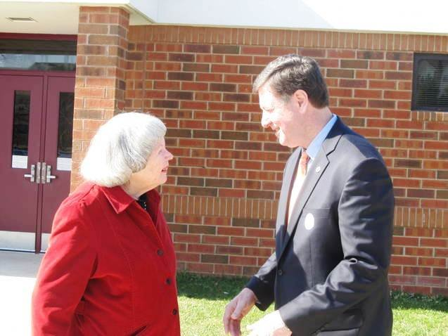 Former Governor George Allen, who is campaigning for the U.S. Senate, greeted voters throughout precincts in Northern Virginia on Super Tuesday, March 6.