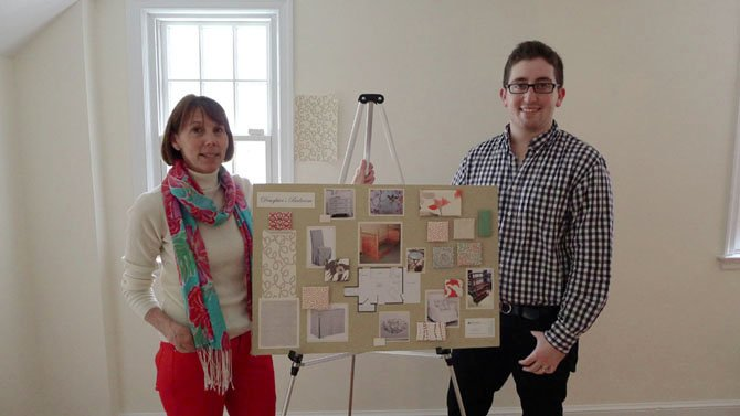Great Falls-based designer Susan Nelson, of Susan Interiors (pictured with design student Jacob Oxford), will design a girl's bedroom.