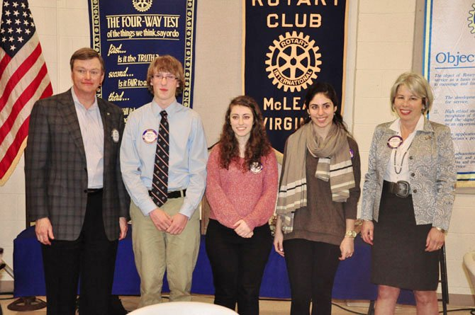 From left, McLean Rotary Club Secretary Dale Lazar, Potomac School senior Keenan Lidral-Porter, McLean High School senior Zhina Kamali, Langley High School senior Sheerin Tehrani and club President Cherry Baumbusch. Lidral-Porter, Tehrani and Kamali were awarded the club's Youth Service Awards this year.