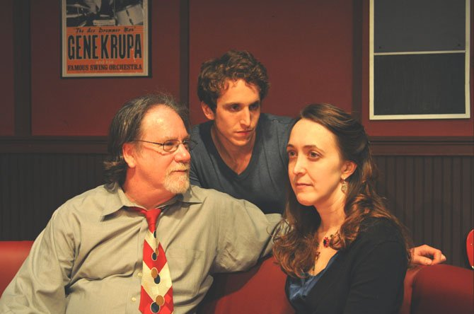 "Providence ""Side Man"" rehearsal – left to right: John Coscia (Gene), Ari Post (Clifford) and Andra Whitt (Terry)."