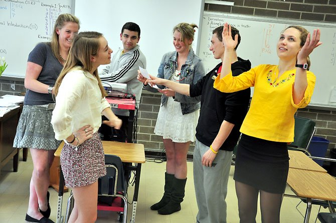 Langley High School seniors rehearse their presentations for the 20th annual Langley Case Day.