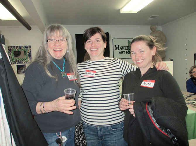 Maverick Mosaics artists Dr. Julie Smith and sisters Heather and Kimberley Carter.