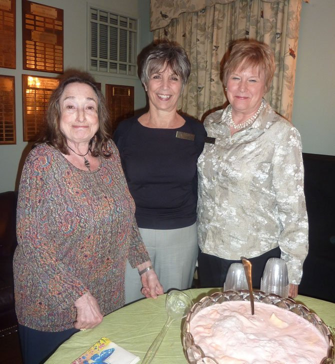 "The Board of Lady Managers held a fundraiser at The Little Theatre of Alexandria March 13 to raise money to purchase new anesthesia machines for Inova Alexandria Hospital. The new machines are part of the board's latest $500,000 pledge for the hospital. Above, event chair Barbara Brenman, Board president Cynthia Puskar and first vice president Ruth Corlett serve punch during intermission of ""Heaven Can Wait."" For more information email TheBoardofladyManagers@gmail.com."
