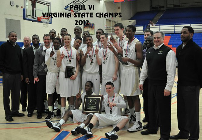 The Paul VI High boys basketball team celebrates following its state finals win over Episcopal High. 