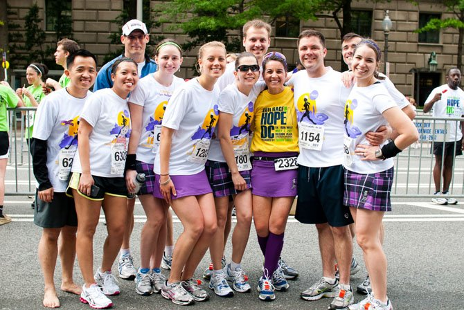 BethAnn Telford, in yellow T-shirt, in May 2011 at the Race for Hope in Washington, D.C.