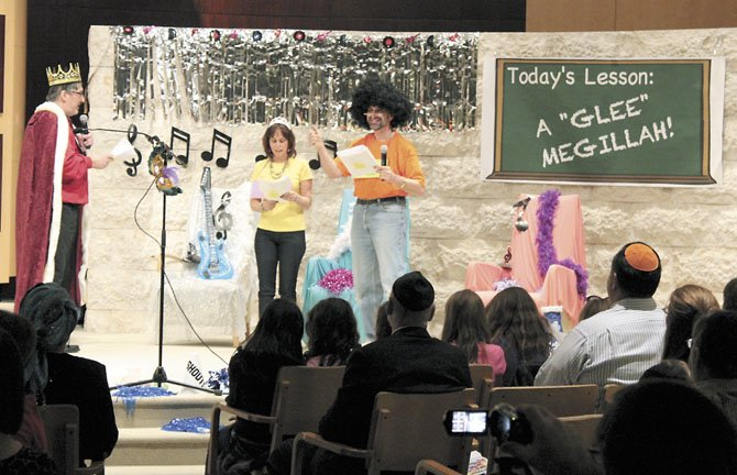 "Congregation B'nai Tzedek in Potomac held its Purim Spiel, ""A Very Glee Megillah"" on Wednesday, March 7. Above, from left, are Alan Blank, Carol Friedman and Ted Heilweil."