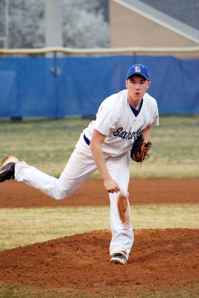 Billy McLaughlin pitched six innings for South Lakes last Friday night.