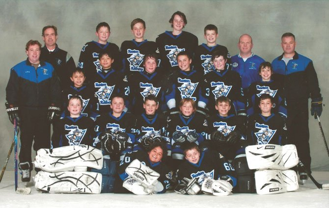 The 12-under Reston Raiders PeeWee AA Blue youth ice hockey team will represent the state of Virginia at the upcoming U.S. National Championships, which will take place at Northern Virginia venues in Reston and Ashburn. Members of the Blue, front row, left to right: Max Cichanowicz, Trent Pratt; second row - Will Sterrett, Chris Weiss, Alex Cleveland, Ryan Hemlinger, Liam Kelly and John Cardellicchio; third row - Chad Constantine, Kevin Wang, Robert Holmberg, Evan Guidi, John Malks and Jason Calem; fourth row - Kevin Shaffer, Peter Regan, Richie Santry and Aiden Wheeler. The team's coaches are Jim Cardellicchio, Art Santry, Rick Sterrett, Dave Regan and Chris Kelly.